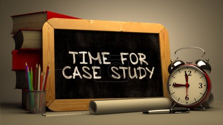 Photo for Time for Case Study Handwritten by white Chalk on a Blackboard. Composition with Small Chalkboard and Stack of Books, Alarm Clock and Rolls of Paper on Blurred Background. Toned Image. 3d Render - Royalty Free Image