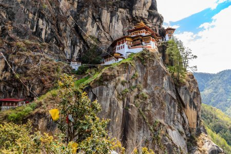 Photo for Paro Taktsang Monastery is the most famous of Bhutan Monasteries located in the cliffside of Paro valley in Bhutan - Royalty Free Image