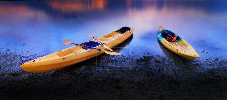 Kayaks on sea beach