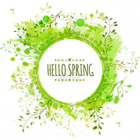 Illustration pour Circle frame with text hello spring. Green paint splash background with leaves. Fresh vector design for banners, greeting cards, spring sales. - image libre de droit
