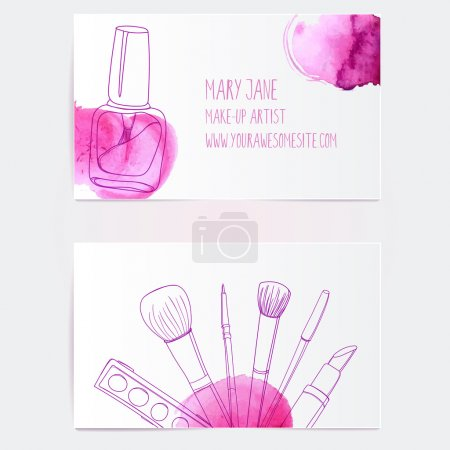 Photo for Make up artist business card template. Vector layout with hand drawn illustrations of nail polish tube, makeup brush, eyeliner, lipstick and palette with pink paint swatches. - Royalty Free Image