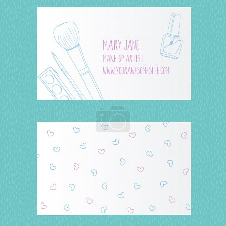 Photo pour Make up artist business card template. Vector layout with hand drawn illustrations of nail polish tube, makeup brush, eyeliner and palette. - image libre de droit