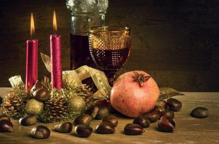 Rustic traditional christmas still-life