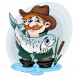 Fisherman catch big fish. Vector illustration in c...
