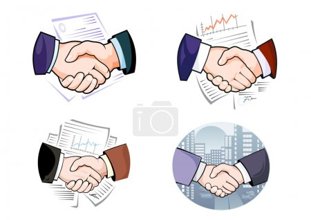 Handshakes against cityscape and working papers