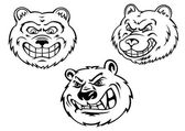 Growling bear heads in cartoon style