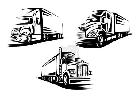 Illustration pour Silhouettes de camions de fret de livraison commerciale isolées sur fond blanc approprié pour le modèle de logo ou d'emblème - image libre de droit