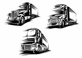 Outlined trucks lorries with motion trails