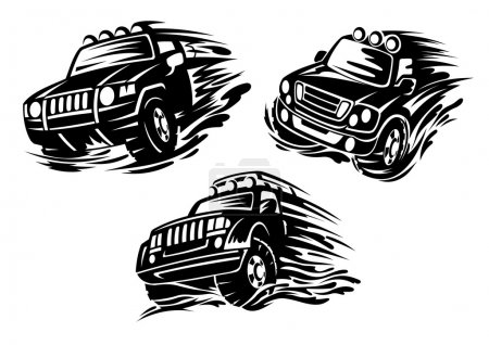 Outlined jeeps or 4x4 cars design elements