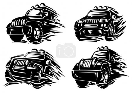 Silhouettes of jeep or crossover