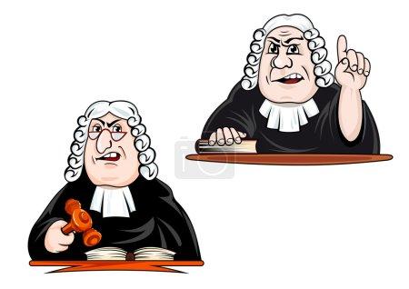 Illustration pour Juge stricte personnages de bande dessinée perruque, lunettes et manteau tenant marteau et pointant vers le haut pour la loi et la justice conception de concept - image libre de droit