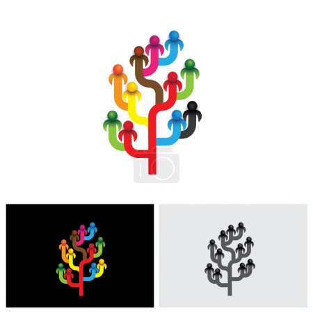 concept tree of company employees working together as a team vec