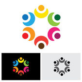 colorful children playing in circle - school concept vector logo
