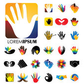 Vector logo icon designs of hands and feet this represents concepts like meditation & yoga love & commitment care & hope family & children expressions & creativity business deals handshakes