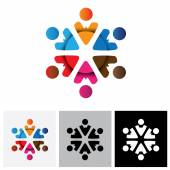 Abstract multi-color vector logo icon of people in circle