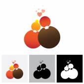Boyfriend & girlfriend or love couple vector logo icon ( symbol