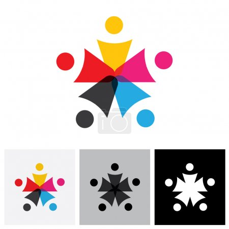 team and teamwork of group of employees in star shape - vector i