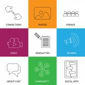 Social media icons of friends, community, videos & photos - conc