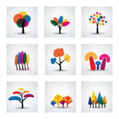 Illustration of different kinds of vector tree icons This graphic shows common trees like oak willow banana pine christmas etc