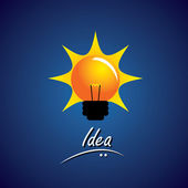 concept vector of bulb glowing bright with smart ideas