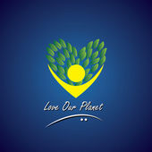 person loving trees plants & nature - eco concept vector
