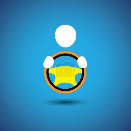 Illustration pour Icône de conducteur de voiture, véhicule ou automobile ou graphique vectoriel symbolique. cela montre une icône de taxi avec sa main tenant le volant - image libre de droit