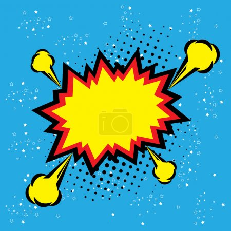 Illustration for Explosion steam bubble pop-art vector - funny funky banner comics background. this also represents a big bang, thunder, emphatic explosion, roaring voice, scream, booming vehicle, big sound - Royalty Free Image