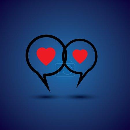 intimate couple doing love talk - concept vector line icon