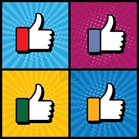 Pop art thumbs up & like hand symbol used in social media - vect