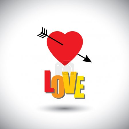 human heart icon and love words and arrow - simple vector graphi