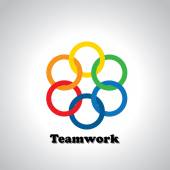 Vector icon colorful rings interlocked - teamwork concept This also represents unity united people friendship partnership close relationships bonding