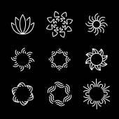 vector line icon set of flower designs & floral elements