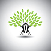 Happy joyous people as trees of life - eco concept vector icon This graphic also represents harmony joy happiness friendship education peace development healthy growth sustainability