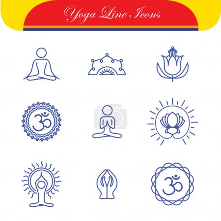 vector yoga icons & round line badges - graphic design elements
