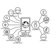 line vector design of mobile marketing strategy concepts & other