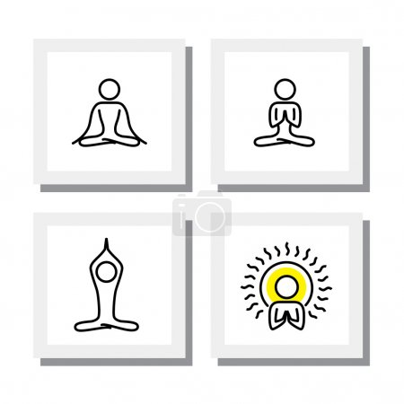 set of yoga and meditation postures - vector icons.