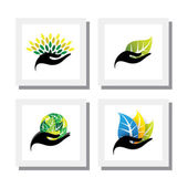 set of logo designs of hand holding colorful leaves - vector ico
