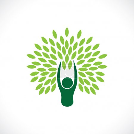 Illustration for Person as tree one with nature - eco lifestyle concept vector. This line icon also represents harmony, union, sustainable development, natural balance, development, symbiotic relationship - Royalty Free Image