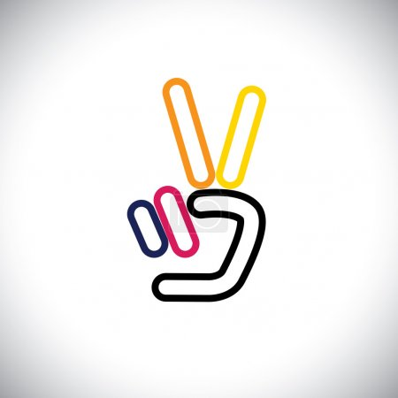 Illustration for V hand victory symbol vector logo line icon. this icon can also represent victory, winner, winning, success, progress, triumph, number 2, two - Royalty Free Image