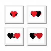 Set of heart and love symbols of empathy compassion care - vector icons this also represents concepts like romance intimacy self-love self-esteem romeo juliet romance care support feelings