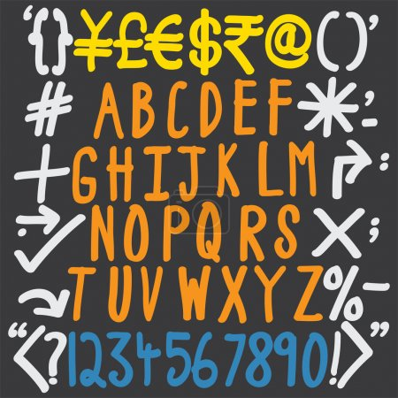 colorful alphabets, numbers and special characters - hand writte