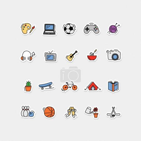 Illustration pour Icônes collection - jeux amusants ane pour les enfants - image libre de droit