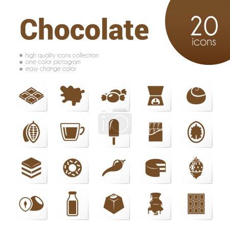 Illustration pour Icônes chocolat - image libre de droit