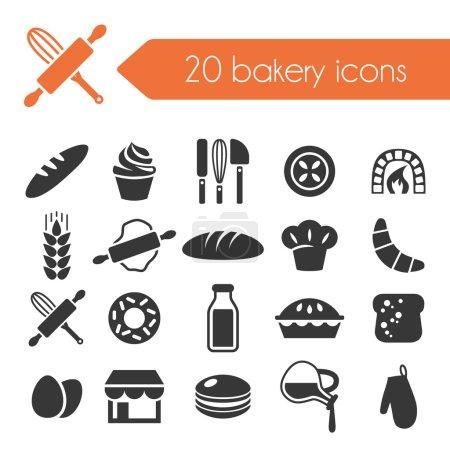 Illustration pour Icônes de boulangerie - image libre de droit