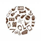 hipster icons in circle