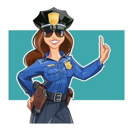 Illustration pour Belle policière en uniforme. Illustration vectorielle. Isolé sur fond blanc. Objets transparents utilisés pour le dessin de lumières et d'ombres - image libre de droit