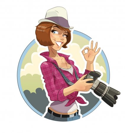 Photographer girl with camera. Eps10 vector illust...