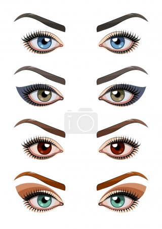 Illustration for Womans eyes with make-up. Eps10 vector illustration. Isolated on white background - Royalty Free Image