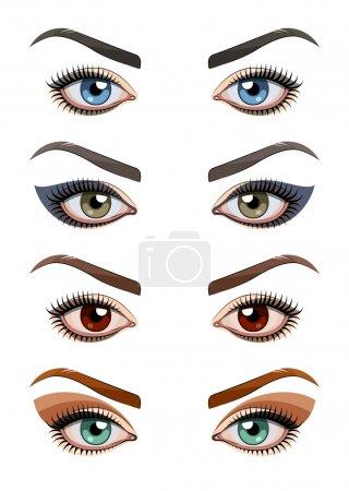 Illustration pour Les yeux des femmes maquillées. Illustration vectorielle Eps10. Isolé sur fond blanc - image libre de droit