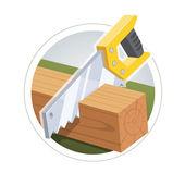 Hacksaw cut  wooden board